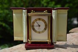 Vintage And Co Brass Carriage Travel Desk Clock With Case And Manual