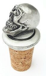 Gothic Skull Handcrafted From English Pewter Bottle Stopper + Giftbag