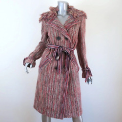 Missoni Double Breasted Coat Pink Striped Knit Size 42 Belted Jacket