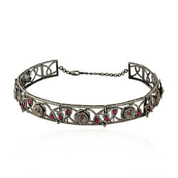 18k Gold Silver 3.65ct Natural Ruby Pave Diamond Flower Design Choker Necklace