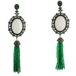 Diamond And Carved Jade Emerald Beads Tassel Earrings 18k Gold Silver Jewelry