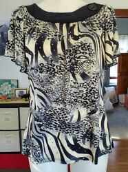 Brittany Black black animal print sequins short sleeves silky soft top size M