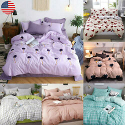 4pcs Printed Duvet Cover Set luxury Bedding W Pillow Cases all Sizes Bed Quilt