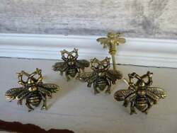 Antique Gold Bee Vintage Drawer Pulls Handles Metal Cabinets Knobs Lot Of 2