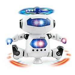 Musical Walking Dancing Robot Toy For Kids Music Sounds Lights 360anddeg Body Spin...