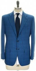 Kiton Suit 14 Micron 180and039s Wool Size 38 Blue Plaid 01su0211 8995