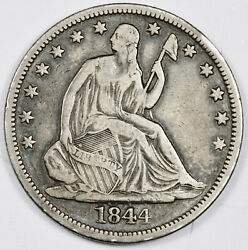 1844/44-o Seated Liberty Half. Over Date Double Date. Vf. 160515