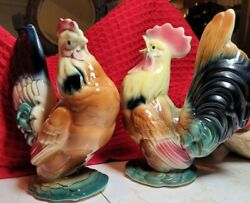 Royal Copley Vintage Crowing Rooster And Hen Set