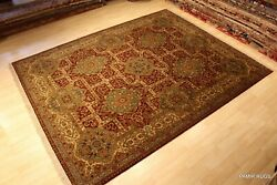 8and039 X 10and039 High Quality Agra Design Handmade Maroon Dark Red Beige Blue Rug