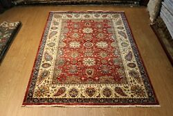Fine Quality Handmade Hand Knotted 7and039x10and039 Red Background Floral Design Wool Rug
