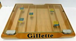 Vintage 1950s Gillette Razor, Wood And Glass Store Display Case, Nice Ad Piece,