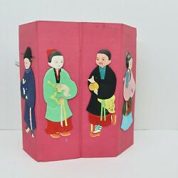 Vintage Silk Chinese Paper Dolls The Eight Immortals Eternity On Carousel Stand