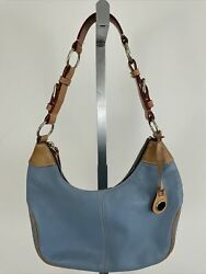 Dooney And Bourke All Weather Leather Shoulder Hobo Bag In Light Blue And Tan
