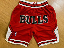 Mens Chicago Bulls Just Don Summer League Basketball Stitched Shorts Vintage Red