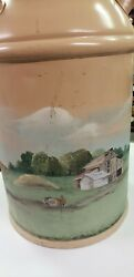 Antique 10 Gallons Vintage Steel Milk Canhand Painted Beautiful Farm Scene Nice