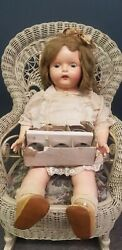 Antique Composition Madame Hendren Dolly Reckord Doll W/ All Records Plays
