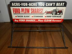 Very Rare Vintage Ford Plow Shares Furrow 8n Farm Tractor Advertising Rack Sign