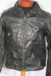 Rare Vintage Californian Label 1960's Black Leather Cycle Jacket Size Small