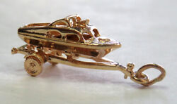 Vintage 14k Yellow Gold Boat On Boat Trailer Charm