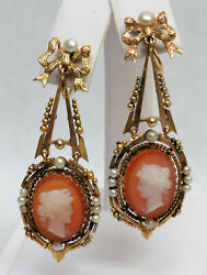 Superb Pair Antique 18k Gold Natural Pearls Chandelier Stone Cameo Earrings