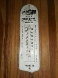 Vintage Cands Farm Store Feed Seed Advertising Thermometer - Winthrop Iowa Ia