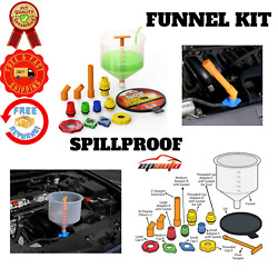 Spill Proof Filling Funnel Kit Radiator Coolant Trapped Car System Cooling Caps