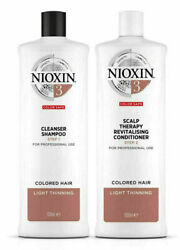 Nioxin System 3 Cleanser Shampoo + Scalp Therapy Conditioner - Liter Duo Set