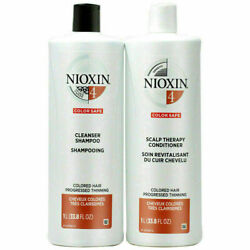Nioxin System 4 Cleanser Shampoo + Scalp Therapy Conditioner - Liter Duo Set