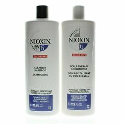 Nioxin System 6 Cleanser Shampoo + Scalp Therapy Conditioner - Liter Duo Set