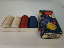 Vintage 1950's Thesco Horse-shoe Paper Poker Chips Embossed Round Edge 95