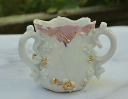 German Embossed White And Pink Three Handled Toothpick Holder No Mark