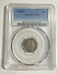 Dimes Barber Or Liberty Head 1904 S Pcgs Vf-25