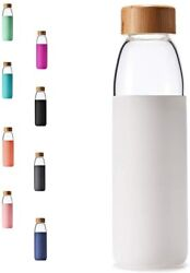 Glass Water Bottles With Bamboo Lid, Bpa-free Non-slip Silicone Sleeve