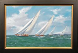 'yankee And Velsheda' With 'shamrock And Endeavour' Yacht Race By George Drury