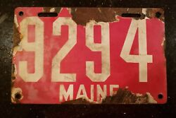 Vintage 1905-1911 Maine Me First Issue Porcelain License Plate Auto Car Tag 1911