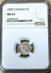Canada - Queen Victoria - Silver 5 Cents - 1889 - Km-2 - Ngc Ms63
