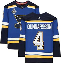 Carl Gunnarsson Stlouis Blues Signed Blue Authentic Jersey And 2019 Sc Final Patch