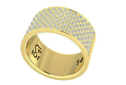 14k Gold Cigar Band Wide Pave Diamond Ring 140 Real Natural Diamonds 1.54 Tcw