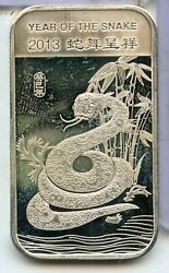 2013 Year Of The Snake 999 Fine Silver 1 Oz Bar Ingot Medal Ounce - Rc408