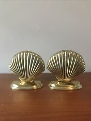 Vintage Pair Of Solid Brass Nautical Scalloped Sea Shell Bookends Home Decor