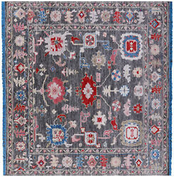 7and039 Square Turkish Oushak Hand-knotted Wool Rug - Q9161