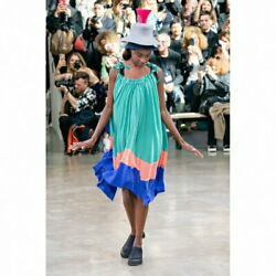 Issey Miyakeissey Miyake Tricolour Pleated Dress Green And Others Secondhand