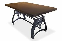 Industrial Dining Table - Adjustable Crank Iron Base - Casters - Ebony Top