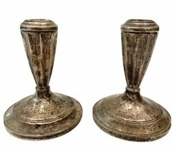 Hamilton Weighted Sterling Silver Candle Holders 2 Set Pair Vintage Antique