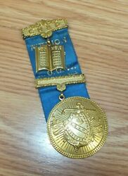 Ch And P Marion Lodge A.o.u.w. No. 66 Engraved Vintage Collectible Ribbon Pin