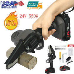 24v Li-ion Battery Cordless Electric Chain Saw Wood Cutter For Woodworking Black
