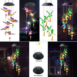 Waterproof Solar Wind Chimes Lights Led Color Changing Hanging Garden With Bells