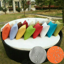2x Waterproof Throw Pillow Covers Cushion Case Zippered For Patio Indoor Outdoor