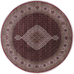 8and039 Round Wool And Silk Traditional Hand Knotted Rug - Q8906