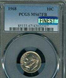 1968 Roosevelt Dime Pcgs Mac Ms67 Fb Pq Finest Registry And Spotless Rare